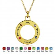 Four Name Birthstones Necklace