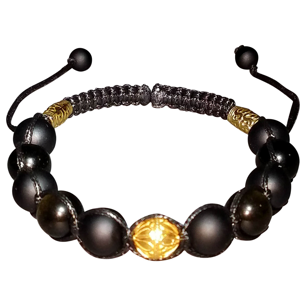 Black and Gold 12mm Shamballa Bracelet