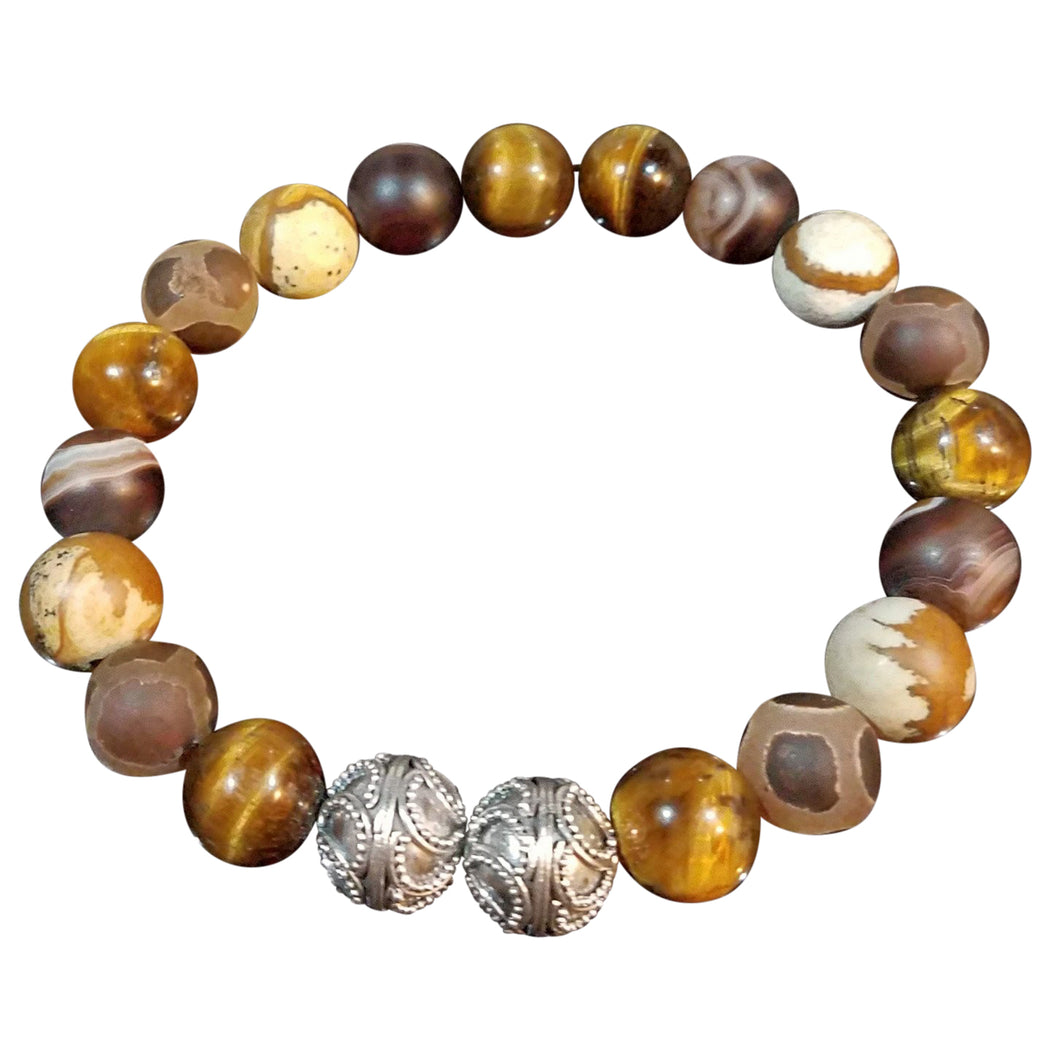 Brown and Silver 12mm bracelet