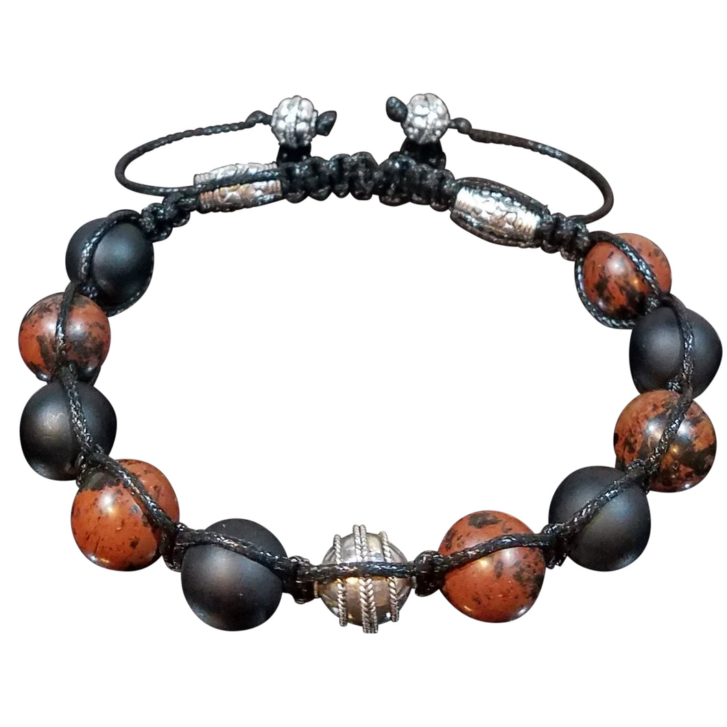 Black and Mahogany Shamballa Bracelet