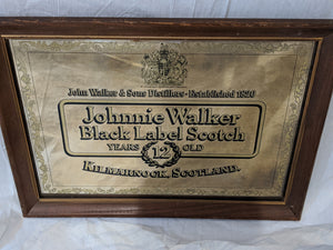 Johnnie Walker Black Label Mirrored Sign/Advertisment Framed