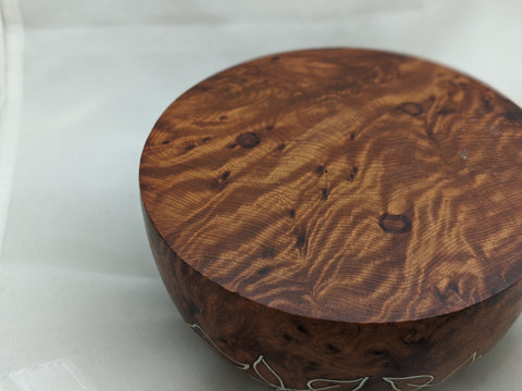 Vintage Turned Burl Wood Container with Inlaid Silver & Mother of Pearl