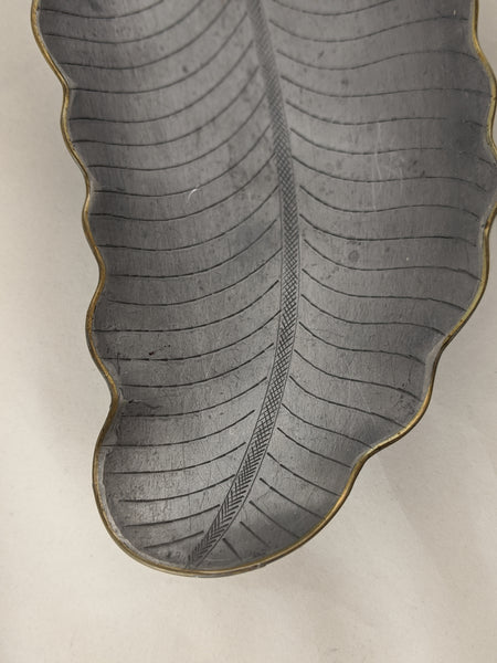 Chinese Etched Leaf Shaped Pewter Tray Brass stylings and Jade Stem