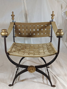 Savonarola Curule Italian Campaign Style Wrought Iron Chair with Woven Velvet Covered Leather Lattice