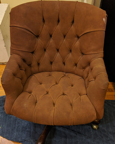 Vintage Button Tufted Office Faux Suede Desk Chair