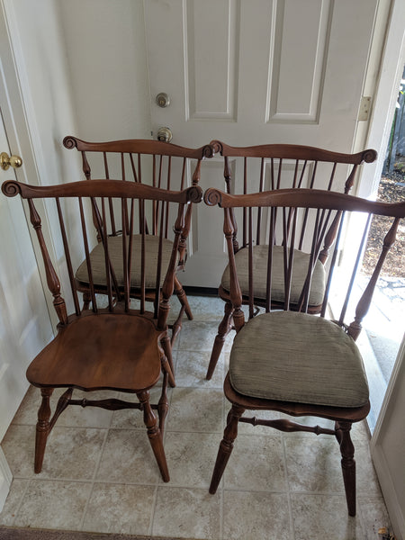 Tell City Windsor Fan Back Chairs (4) and Dining Room Table - Hand Crafted Wood