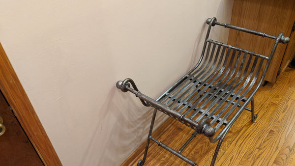 Vintage Curule Style Bronze & Wrought Iron Heavy Metal Chair Bench