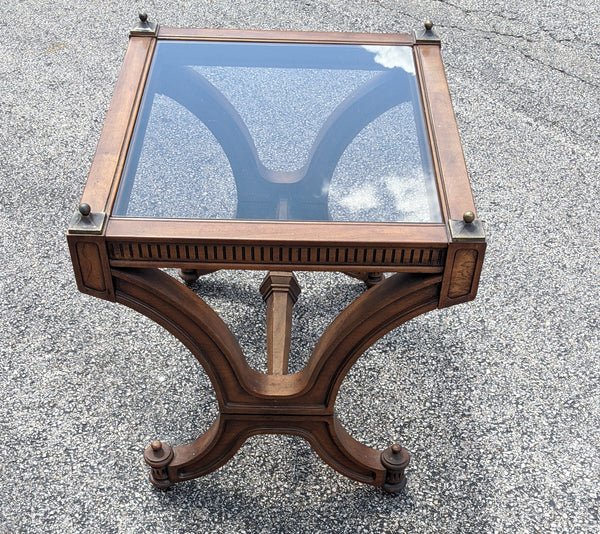 Vintage Empire Style Wood (Mahogany) with Inset Glass Coffee & Side