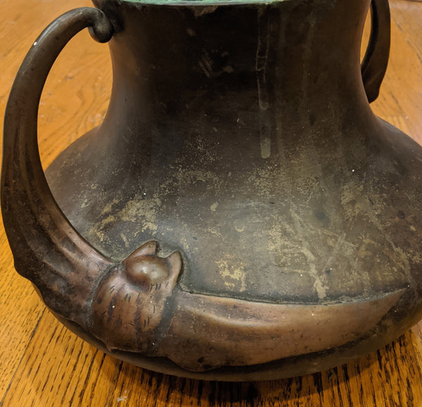 Meiji Period Japanese Bronze Shallow Squat Low Bronze Vase with Bat Wing Relief Handles
