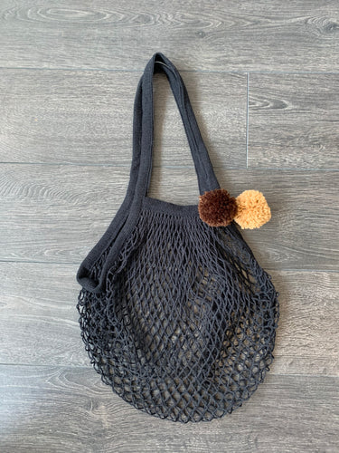 Black French Market Bag with Brown + Tan Poms
