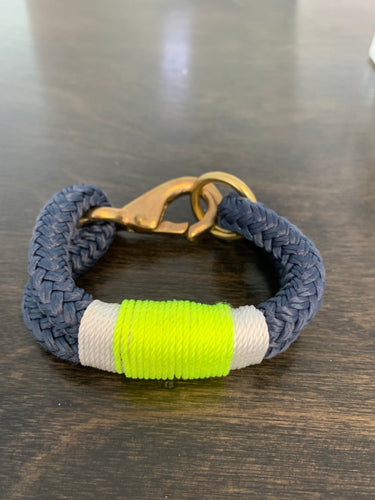 Rope Bracelet with Neon Accent and Brass Clasp