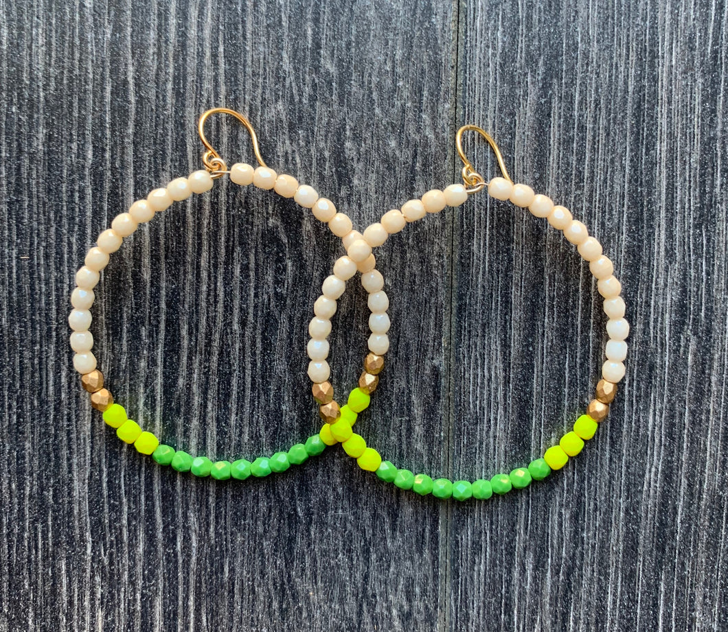 Nest Pretty Things Hoops - Green, White + Gold
