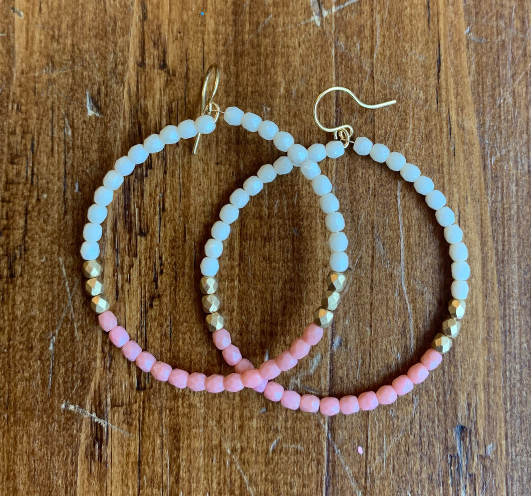 Nest Pretty Things Hoops - Pink, White + Gold