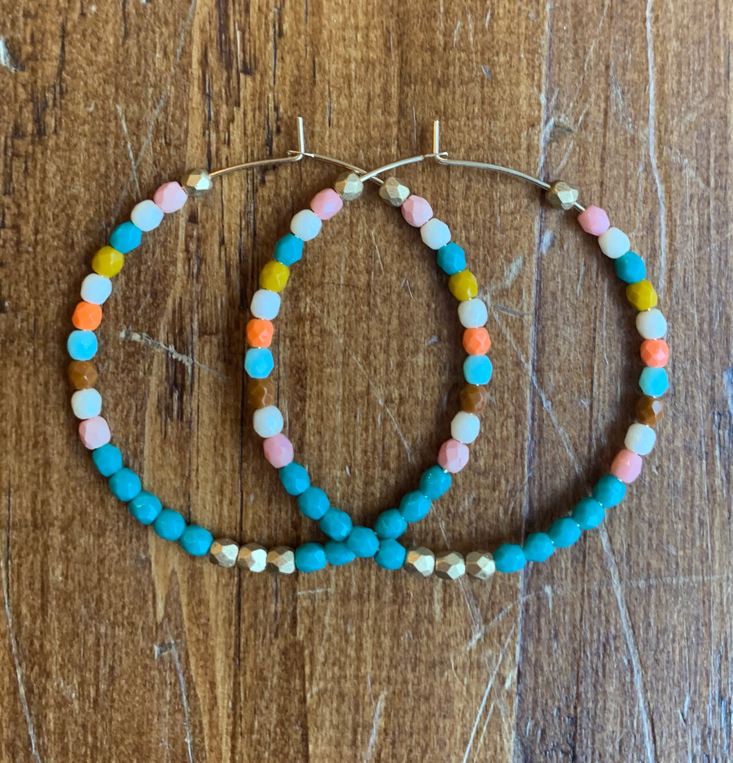 Nest Pretty Things Hoops - Turquoise, Gold, + Orange