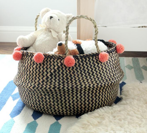 Chevron-Weave Belly Basket with Coral Poms