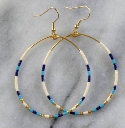 Libby & Smee Tear Drop Hoops - Blue, Gold + White