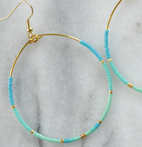 Libby & Smee Tear Drop Hoops - Turquoise + Gold