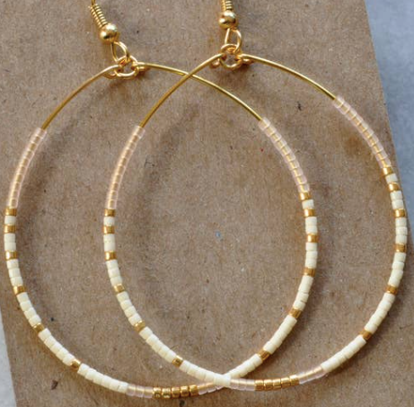 Libby & Smee Tear Drop Hoops - White + Gold