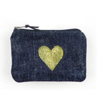 Gray Green Goods Hear Coin Purse - Black