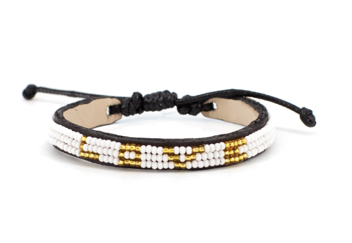 LOVE Bracelet - Skinny Gold + White