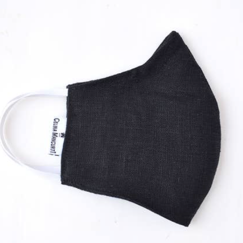 Face Mask - Black Linen