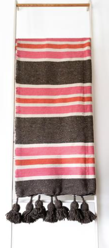 Heddle and Lam Cotton Blanket - Pink + Brown Stripes