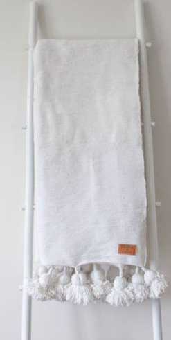 Heddle and Lam Cotton Blanket - White