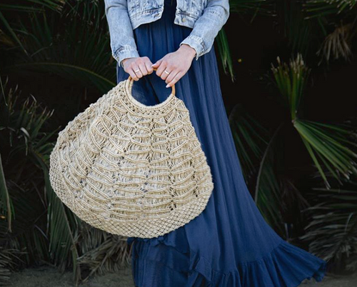 Jute Macrame Bag with Bamboo Ring