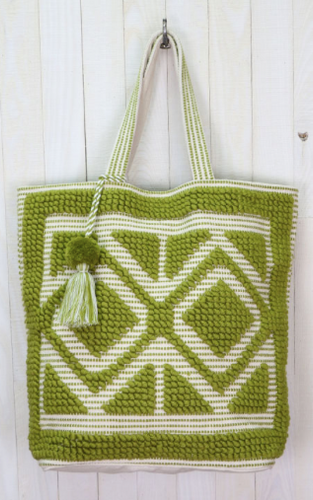 Love Stitch Diamond Pull Weave Tote - Green