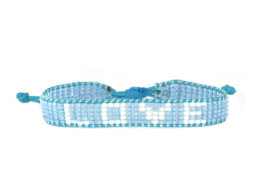 LOVE Bracelet - Woven Light Blue + White