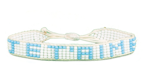 Je T'aime Bracelet - Woven White + Light Blue