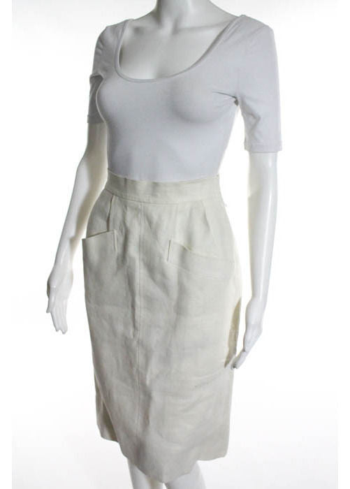 SAINT LAURENT Ivory Linen Side Zipper Two Pocket Pencil Skirt - 1000CUBED