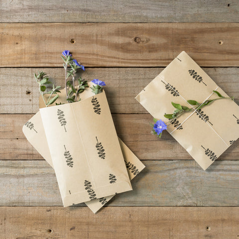 Light Brown Envelope with Leaf Print