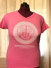 Shirt: Pink V-Neck: Concave Series. Indigenous Protocol (TM).