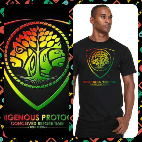 Shirt: Black crew neck: Convex Series . Indigenous Protocol (TM).