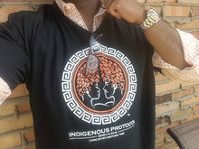 Shirt: Black V-Neck: Concave Series- Indigenous Protocol (TM).