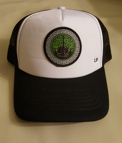 Trucker Hat W/Neon and Black Concave Logo. Indigenous Protocol (TM).