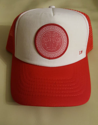 Trucker Hat W/Red and White Concave Logo. Indigenous Protocol (TM).
