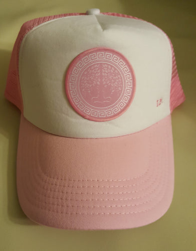 I.P. Trucker Hat W/Pink and White Concave Logo. Indigenous Protocol (TM).