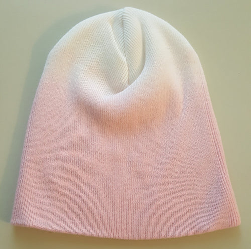 The No - Logo Dip Dyed Pink/White Beanie. Indigenous Protocol (TM).