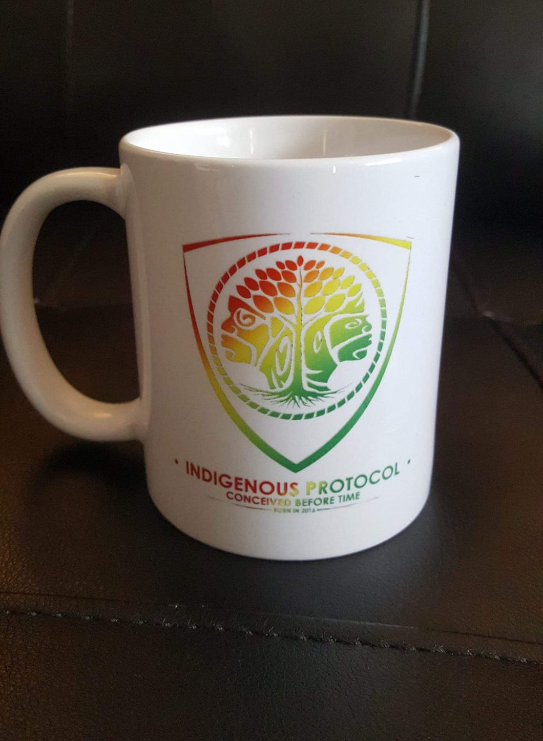 Coffee mug, with the concave Logo on the front and back !