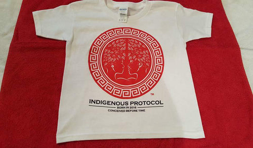 Shirt: White Crew Neck: Concave Series. Indigenous Protocol (TM).