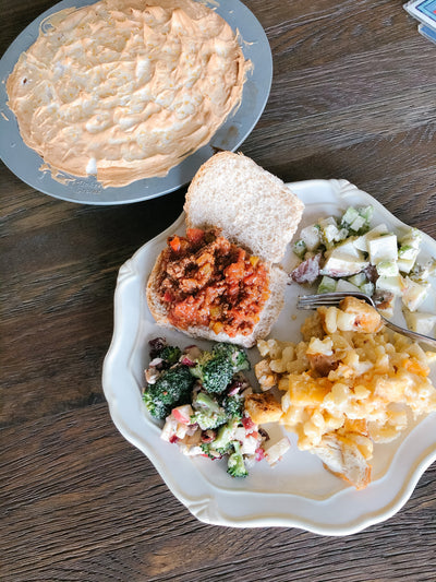 Potluck Faves : Big Batch Sloppy Joes, Gourmet Mac N' Cheese, Horseradish potatoes Salad & Flapper Pie