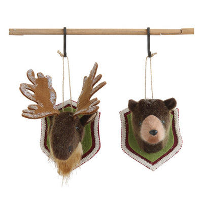 Fabric Animal Head on Mount Ornament