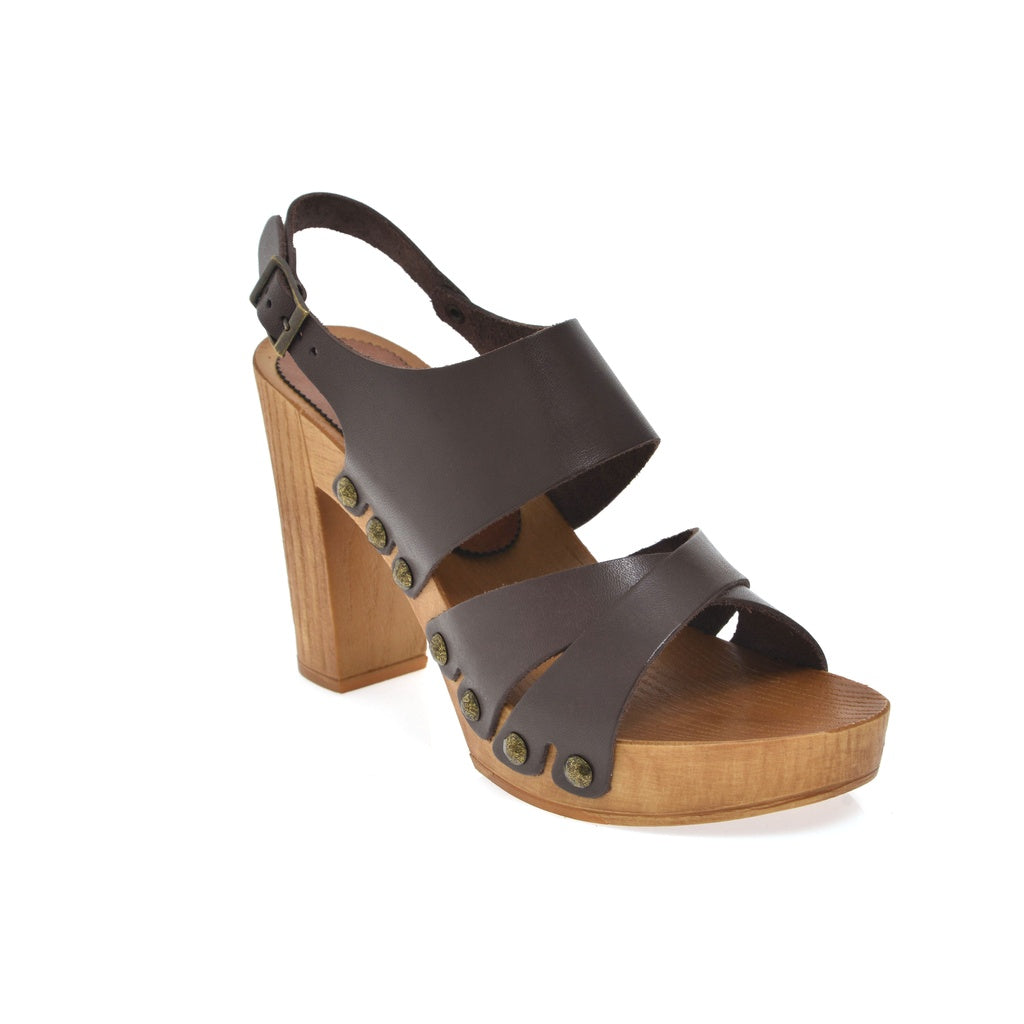 Leather platform sandal  in pine with back strap