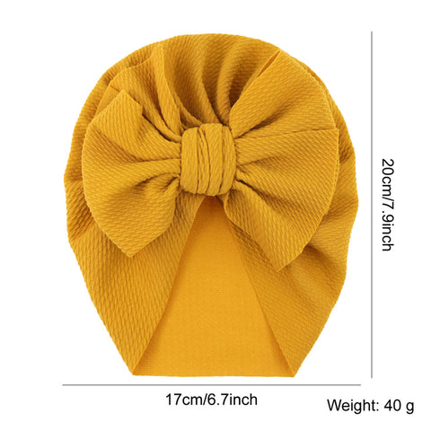 Solid Large Knot Bowknot Hair Bow Beanie Turban Hat Cap India Muslim Islamic Bonnet Headwrap Winter Hospital Nursery for Newborn Baby Girl Infant Toddler Kids