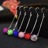 1 Pair 10mm Silver Ball Earrings Women Lady Girls Multicolor Crystal Club Party Long Hook Ear Stud Fashion Popular Gift Accessories Jewelry-Women Earrings-inSowni