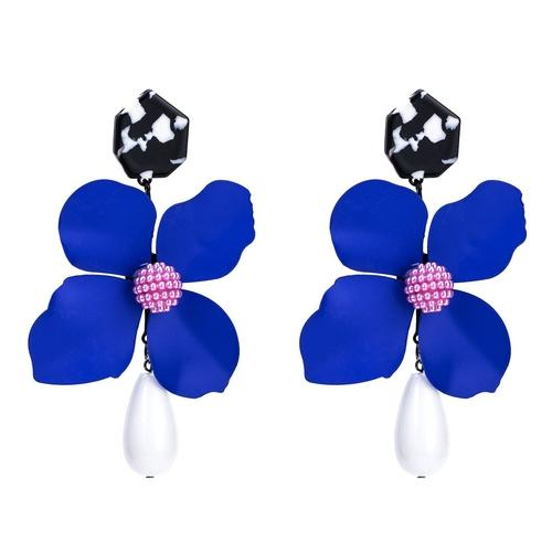 1 Pair Bohemia Exaggerated Big Flower Long Dangle Earings Women Lady Girls Vintage Resin Club Party Ear Stud Fashion Popular Gift Accessories Jewelry-Women Earrings-inSowni