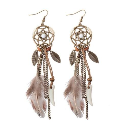 1 Pair Bohemia Feather Leaf Long Hook Dangle Handmade Earrings Women Lady Girls Vintage Club Party Ear Stud Fashion Popular Gift Accessories Jewelry-Women Earrings-inSowni