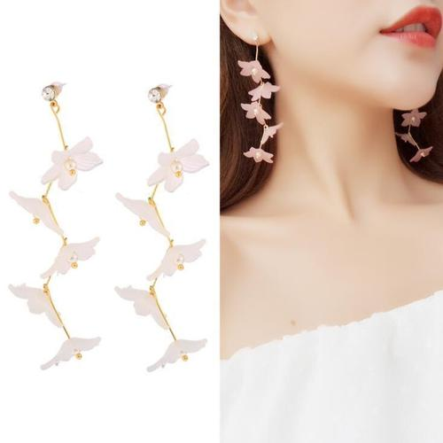 1 Pair Bohemia Flower Earrings Women Lady Girls Club Party Beach Holiday White Pink Fringe Dangle Ear Stud Fashion Popular Gift Accessories Jewelry-Women Earrings-inSowni